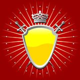 Yellow shield. Ornamental shield over striped background stock illustration