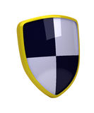 Yellow shield with white and black diagonal squares - high resolution image Stock Photos