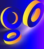 Yellow geometric 3d rings on blue background. Yellow shiny geometric 3d rings on blue background. Vector illustration Royalty Free Stock Images