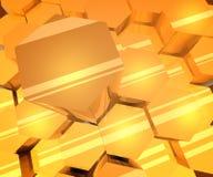 Yellow Shiny Hexagons 3D Background. vector illustration