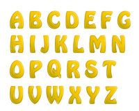 Yellow shiny letters holiday fonts Stock Photography