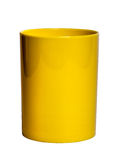 Yellow shiny Plastic cup for pencil - Stock Image Stock Photos