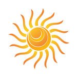Yellow Shiny Sun Icon Stock Images