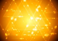Yellow shiny tech background Royalty Free Stock Photos
