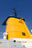 Yellow Ship Funnel Against Blue Sky Royalty Free Stock Photos