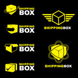 Yellow Shipping box logo sign vector set isolate on black Stock Photos