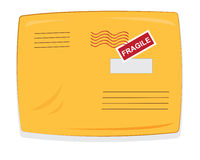 Yellow shipping envelope isolated. A cartoon representing a closed yellow padded envelope, with copy space postmarks and labels stock illustration