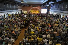 Yellow-Shirt Conference in Bangkok. People's Alliance for Democracy, or informally known as yellow-shirts, hold a conference titled Thailand Revolution in Stock Photography