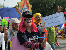 Yellow-Shirt Protest in Bangkok Royalty Free Stock Image