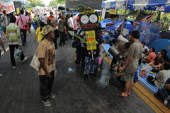 Yellow-Shirt Protest in Bangkok Stock Photography