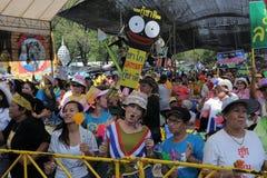 Yellow-Shirt Protest in Bangkok Royalty Free Stock Photography