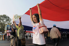 Yellow-Shirt Protest in Bangkok Stock Photo