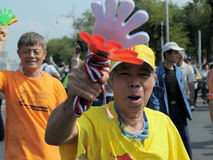 Yellow-Shirt Protester in Bangkok Royalty Free Stock Photo