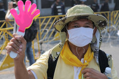 Yellow-Shirt Protester in Bangkok Stock Images