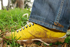 Yellow shoes full of mud. Mud on yellow shoes and blue jeans Stock Image