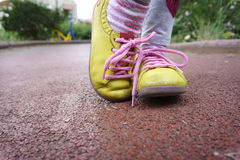 Yellow shoes Stock Photography