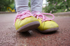 Yellow shoes Stock Image