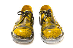 Yellow shoes. On a white background Royalty Free Stock Photos