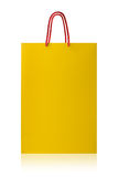 Yellow shopping bag,  with clipping path on white backgr Stock Photo