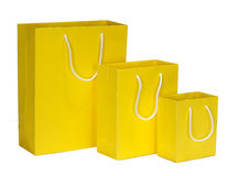 Yellow Shopping Bag gift bag Stock Images