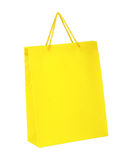Yellow shopping bag isolated on white background Royalty Free Stock Photo