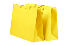 Yellow shopping bags. Stock Image