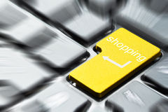 Yellow shopping button Stock Image