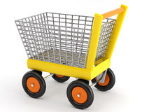 Yellow shopping cart. With metallic basket Royalty Free Stock Photos