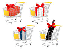 Yellow Shopping Cart Gifts With Bows Royalty Free Stock Photo