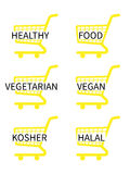 Yellow Shopping Cart Icons Healthy Food Stock Photography