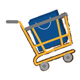 Yellow shopping cart online papper bag gift sketch Stock Images