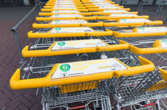 Yellow shopping carts Royalty Free Stock Images