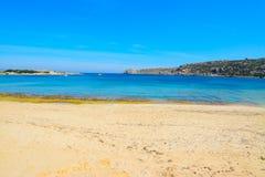 Yellow shore in Capo Testa Stock Images