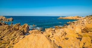 Yellow shore in Sardegna. Costa Paradiso in spring, Sardinia stock photos