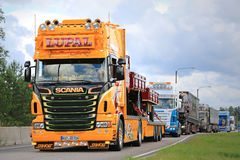 Yellow Show Truck Scania of LUPAL. JALASJARVI, FINLAND - AUGUST 6, 2015: Scania of LUPAL Industrieverpackungen GmbH takes part in the truck convoy to Power Truck Stock Photography