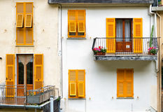 Yellow shutters. Stock Photography