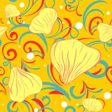 Yellow siamles with flower petal and swirl Royalty Free Stock Photo