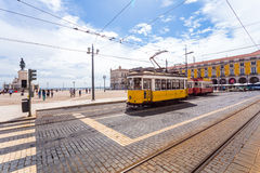 Yellow sightseeing tram in Lisbon Royalty Free Stock Images
