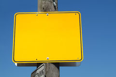 Yellow Sign. A blank yellow street sign royalty free stock images