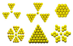 Yellow sign. Sign radioactivity, honeycomb, flower and snowflake lined out yellow drugs (isolated vector illustration