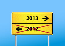 Yellow sign with 2013 direction. Stock Image