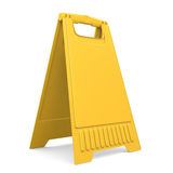 Yellow sign board stand. 3d. Royalty Free Stock Photography