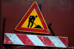 The yellow sign for construction works. Novi Sad, Serbia Royalty Free Stock Photo