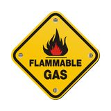 Yellow sign - flammable gas Stock Photography