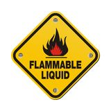 Yellow sign - flammable liquid Royalty Free Stock Image