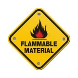 Yellow sign - flammable material Royalty Free Stock Photography