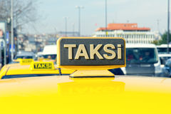 Yellow sign of the Istanbul taxi, Stock Image