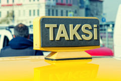 Yellow sign of the Istanbul taxi, Stock Images