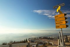 Yellow sign in mountains, Jested mountain, Czech republic Royalty Free Stock Images
