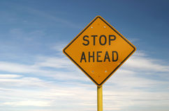 Yellow Sign Stop Ahead Stock Photo